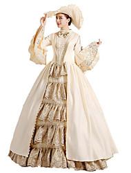 abordables -Gothique Lolita Classique / Traditionnelle Steampunk® Victorien Dentelle Femme Robes Cosplay Beige Fleur Long Déguisement d'Halloween