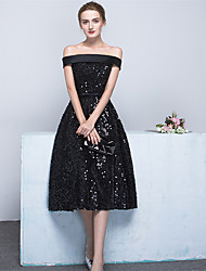 cheap -Ball Gown Off Shoulder Tea Length Satin / Sequined Sparkle & Shine Cocktail Party Dress with Bow(s) / Sash / Ribbon by