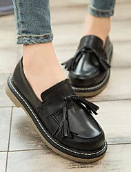 Women's Shoes Leatherette Fall Comfort Loafers & Slip-Ons Chunky Heel Block Heel Round Toe With Tassel For Casual Black