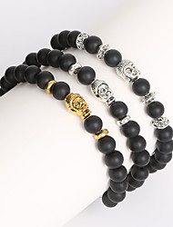 Beadia 1Pc 8mm Black Glass Bead Strand Bracelet Buddha Bracelet Christmas Gifts