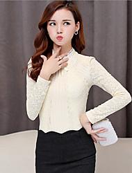 Tee-shirt Femme,Couleur Pleine Sortie Chic de Rue Automne Manches Longues Col Arrondi Rouge Beige Noir Coton Polyester Moyen