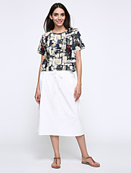Mulheres Vestido Solto Simples Color Block Altura dos Joelhos Decote Redondo Poliéster