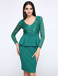 cheap -Women's Bodycon Dress - Solid Colored Lace / Ruffle