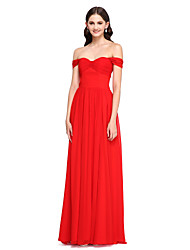 A-Line Off-the-shoulder Floor Length Chiffon Bridesmaid Dress with Pleats by LAN TING BRIDE®