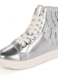 Girls' Boots Fashion Boots PU Winter Casual Fashion Boots Lace-up Flat Heel Black Silver Flat