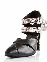 cheap -Women's Modern/Latin/Ballroom Dance Shoes Leatherette Sandals Heel Indoor / Performance Black Customizable