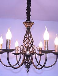 American retro candle 6 lamp wrought iron restaurant