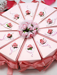 cheap -Cylinder Card Paper Favor Holder with Bowknot Lace Ribbons Flower Favor Boxes - 10
