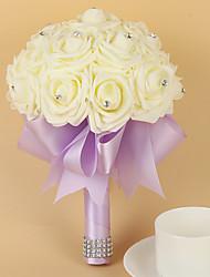 Bouquet sposa Tondo Rose Bouquet Matrimonio Partito / sera Raso Schiuma 20 cm ca.