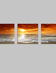 cheap -VISUAL STAR®3pcs Sunset Canvas Print For Home Decoration Seascape Beach Modern Painting Wall Art Picture Print on Canvas