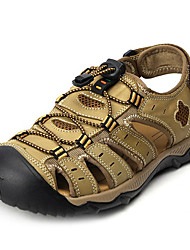 cheap -Men's Shoes Leather Summer Sandals for Casual Brown Green coffee