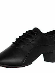 "cheap -Men's Latin Leather Heel Indoor Lace-up Low Heel Black 1"" - 1 3/4"" Non Customizable"