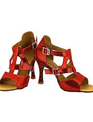 abordables -Femme Latines Salsa Similicuir Sandale Talon Utilisation Professionnel Boucle Ruban Talon Personnalisé Noir Argent Rouge Bleu Doré