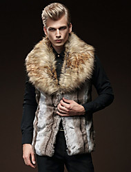 cheap -Men's Vest-Color Block,Fur Trim Patchwork