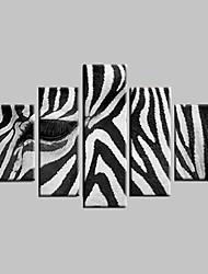 Dipinta a mano Astratto / Paesaggi astratti / Animali Cinque Pannelli Tela Hang-Dipinto ad olio For Decorazioni per la casa