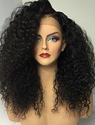 billiga -Äkta hår Helnät utan lim Hel-spets Peruk Kinky Curly Peruk Naturlig hårlinje Afro-amerikansk peruk 100 % handbundet Dam Mellan Lång Äkta peruker med hätta / Sexigt Lockigt