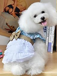 baratos -Cachorro Vestidos Roupas para Cães Laço Azul Algodão Ocasiões Especiais Para animais de estimação Homens Mulheres Férias Fashion
