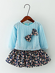 cheap -Girl's Casual/Daily Floral Dress,Cotton Spring / Fall Blue / Pink / Yellow
