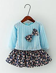 abordables -Robe Fille de Fleur Décontracté / Quotidien Coton Printemps / Automne Bleu / Rose / Jaune