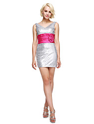 cheap -Sheath / Column V Neck Short / Mini Sequined Cocktail Party / Homecoming Dress with Sash / Ribbon Flower Side Draping by TS Couture®