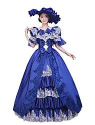abordables -Victorien Rococo Costume Femme Robes Bal Masqué Costume de Soirée Vintage Cosplay Dentelle Coton Longueur Sol Long
