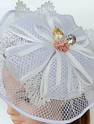 お買い得  -チュール 真珠 キュービックジルコニア レース ネット フェザー - 魅力的な人 帽子 1 結婚式 パーティー イベント/パーティー カジュアル かぶと