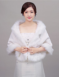 cheap -Faux Fur Wedding Party Evening Office & Career Women's Wrap With Rhinestone Capelets