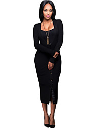 Women's Casual/Daily Simple / Street chic Bodycon DressSolid V Neck Knit Fashion Slim Sexy Midi Long Sleeve  Mid Rise