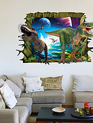 cheap -3D Dinosaurs World Jurassic Realm Tyrannosaurus 3D Wall Stickers Removable Living Room Wall Decals