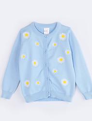preiswerte -Mädchen Pullover & Cardigan Alltag Blumen Baumwolle Herbst Hellblau