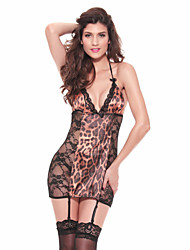 cheap -Women Babydoll Ultra Sexy Nightwear Leopard-Thin Lace Animal Print Lingeries