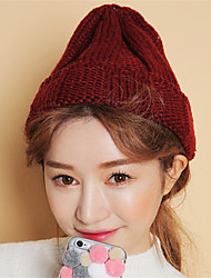 cheap -Unisex Solid Color Hand-woven Tweed Cute Pointed Knit Cap Warm Wool Hat