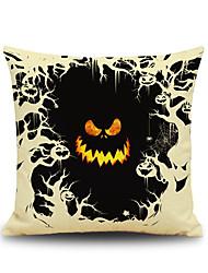 Halloween Pumpkin Devil Square Linen Decorative Throw Pillow Case Cushion Cover