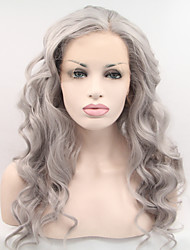 Sylvia Synthetic Lace front Wig Grey Hair Heat Resistant Long Wavey 18-26inch Synthetic Wigs
