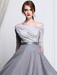 levne -Dámské - Jednobarevné Tričko, Nabírané šaty Pod rameny