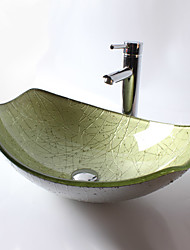Contemporaneo T12*L525*W360*H165MM Rettangolare Materiale del dissipatore è VetrotemperatoLavandino bagno / Rubinetto per bagno / Anello