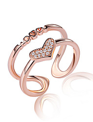 cheap -Fine 925 Silver /Rose Gold AAA Love Heart Zircon Crystal Midi Knuckle Band  Open Adjustable Ring for Women