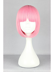 cheap -Synthetic Wig Straight Bob Haircut With Bangs Pink Women's Capless Carnival Wig Halloween Wig Lolita Wig Cosplay Wig Synthetic Hair