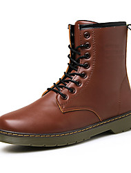 Men's Boots Fall Winter Mary Jane PU Casual Work & Safety Flat Heel Lace-up Black Brown Red