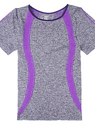 Women's Running T-Shirt Short Sleeves Quick Dry Breathable Top for Yoga Exercise & Fitness Running Cotton Slim Orange Purple Green Blue S