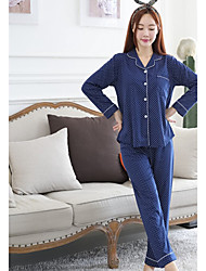 Недорогие -Жен. V-образный вырез Пижамы - С принтом, Горошек
