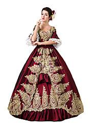 abordables -Rococo / Victorien Costume Femme Robes / Costume de Soirée / Bal Masqué Rouge Vintage Cosplay Dentelle / Coton Longueur Sol / Long Déguisement d'Halloween / Fleur