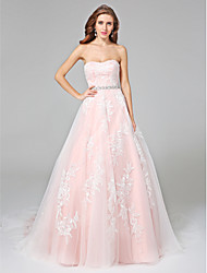 Ball Gown Strapless Chapel Train Lace Satin Tulle Wedding Dress with Beading Appliques Sash / Ribbon Button by LAN TING BRIDE®