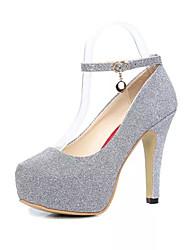 Women's Heels Spring Summer Fall Comfort PU Dress Stiletto Heel Buckle  Black Purple Silver