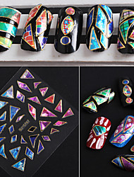 24pcs Irregular Aurora Glass 3D Nail Stickers With Beijiao GEM Models
