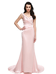 cheap -Mermaid / Trumpet V Neck Sweep / Brush Train Stretch Satin Formal Evening Dress with Beading / Crystals by TS Couture®