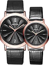 abordables -Pareja Reloj de Pulsera Gran venta / Cool / / Piel Banda Casual / Moda Negro / Blanco / Plata