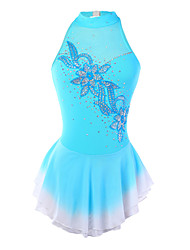 abordables -Robe de Patinage Artistique Femme / Fille Patinage Robes Teinture Halo Spandex Concurrence Tenue de Patinage Fait à la main Mode / Floral / Botanique Sans Manches Patinage sur glace / Patinage