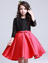 vestito dalla ragazza del fiore di lunghezza del ginocchio dell'abito di sfera - raso 3/4 lunghezza dei manicotti del collo del gioiello da lovelybees