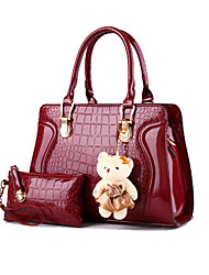 cheap -Women Bags Patent Leather Bag Set 2 Pieces Purse Set for Formal Outdoor All Seasons Pink Wine Khaki Lilac Lavender